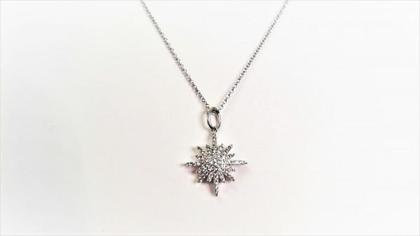 Collier mit Behang Eiskristall 925 Ag rhodiniert