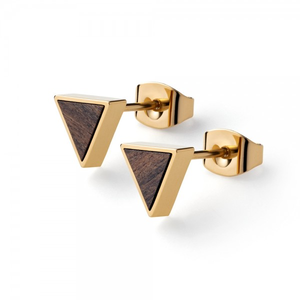 Ohrstecker ohne Stein Triangle Earr. Sandalwood Gold Edelstahl/Holz