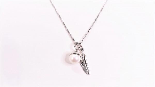 Collier mit Perle Feder 925 Ag rhodiniert