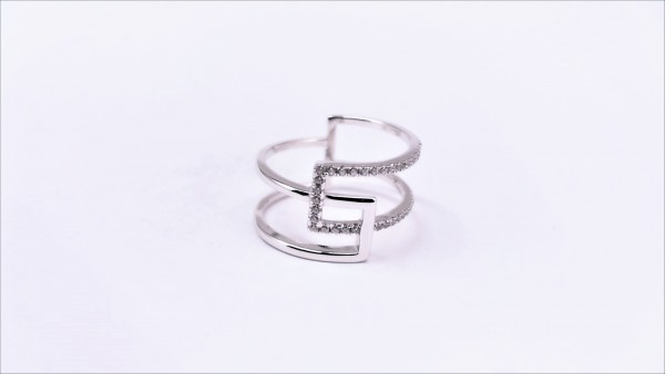 Damenring Mehrsteiner 925 Ag rhodiniert