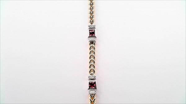 Armband Farbsteine 585 GG/WG
