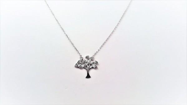 Collier mit Behang Lebensbaum 925 Ag rhodiniert