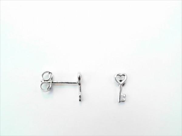 Ohrstecker ohne Stein Schlüssel 925 Ag rhodiniert