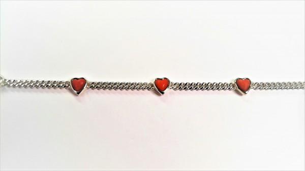 Armband Herz Farbsteine 835 Ag
