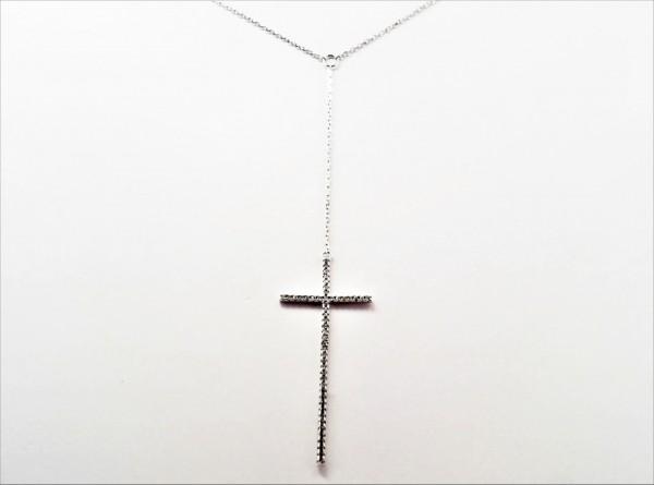 Collier mit Behang Kreuz 925 Ag rhodiniert