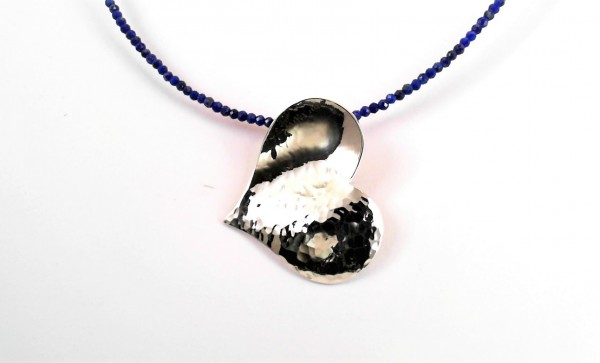 handgearbeitetes Collier 925 Silber mit Lapiskette