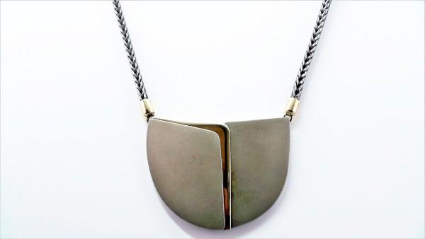 Collier ohne Stein 925 AG bic. gelb/weiss