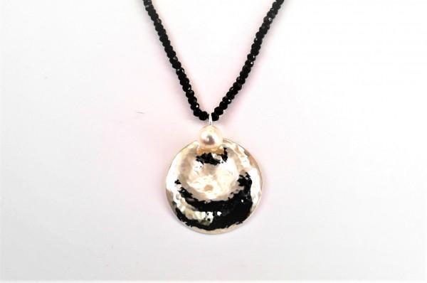 handgearbeitetes Collier 925 Silber mit Akoyazuchtperle und Zirkonkette