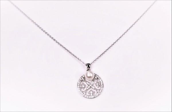 Collier mit Perle Lebensblume 925 Ag rhodiniert