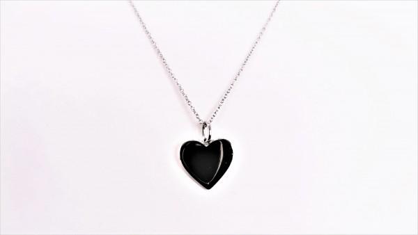 Collier mit Behang Herz Gravurplatte 925 Ag rhodiniert