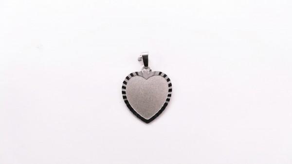 Gravurplatte Herz 925 Ag rhodiniert