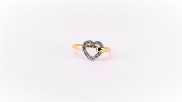 Damenring Mehrsteiner Herz 375 GG/WG