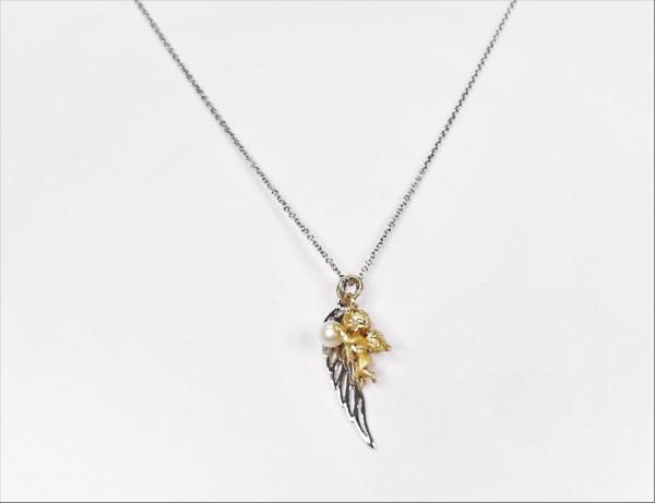 Collier mit Perle Engelsflügel Schutzengel 925 Ag