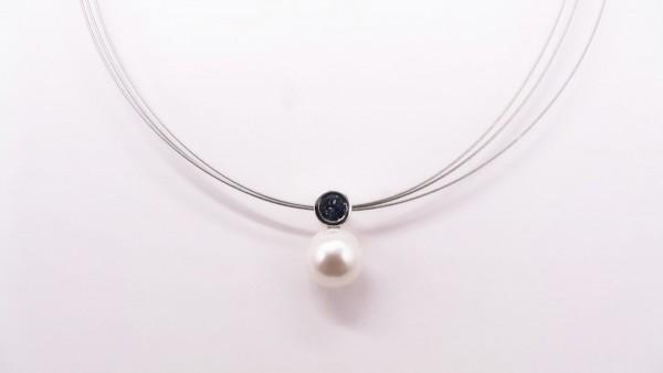 Collier mit Perle 925 Ag rhodiniert