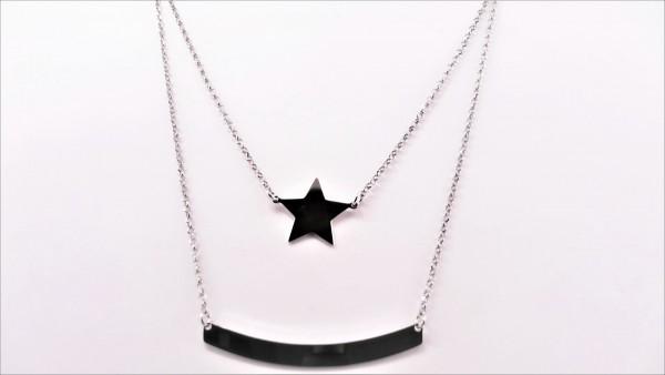 Collier ohne Stein Stern 925 Ag rhodiniert