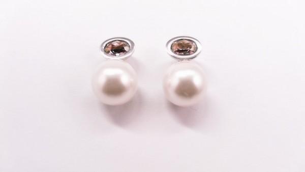 Ohrstecker Perle 925 Ag rhodiniert