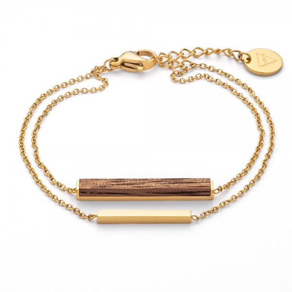 Armband Rectangle Bracelet Walnut Gold Edelstahl/Holz