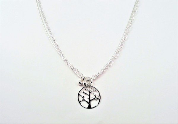 Fusskette Lebensbaum 925 Ag rhodiniert